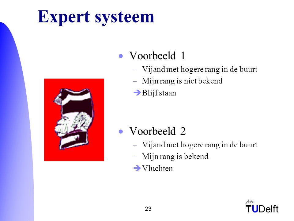 TUDelft 23 Expert systeem  Voorbeeld 1 –Vijand met hogere rang in de buurt –Mijn rang is niet bekend  Blijf staan  Voorbeeld 2 –Vijand met hogere rang in de buurt –Mijn rang is bekend  Vluchten