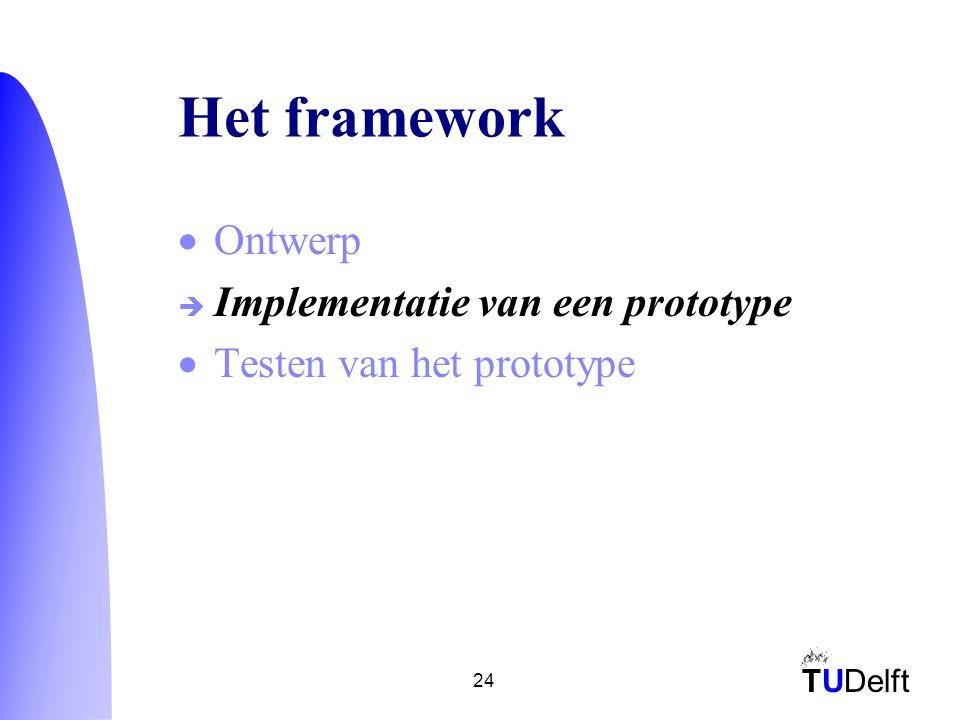TUDelft 24 Het framework  Ontwerp  Implementatie van een prototype  Testen van het prototype