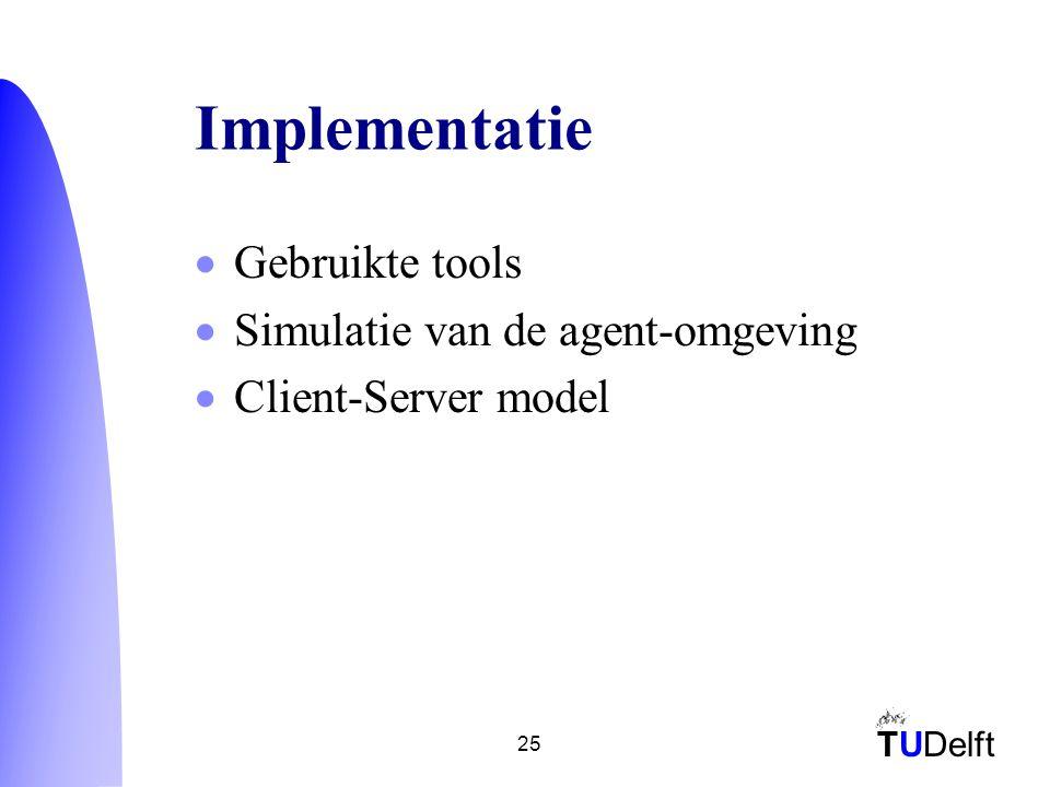 TUDelft 25 Implementatie  Gebruikte tools  Simulatie van de agent-omgeving  Client-Server model