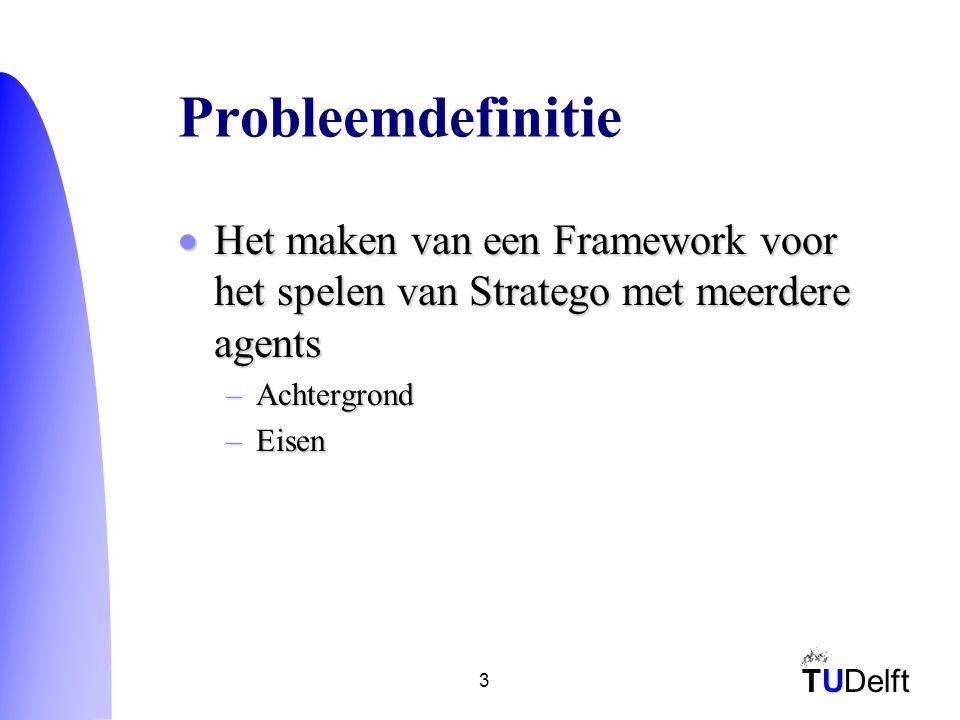 TUDelft 3 Probleemdefinitie  Het maken van een Framework voor het spelen van Stratego met meerdere agents –Achtergrond –Eisen