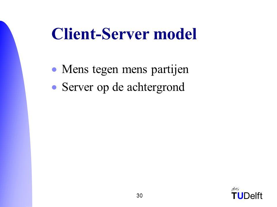 TUDelft 30 Client-Server model  Mens tegen mens partijen  Server op de achtergrond