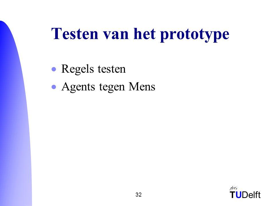 TUDelft 32 Testen van het prototype  Regels testen  Agents tegen Mens