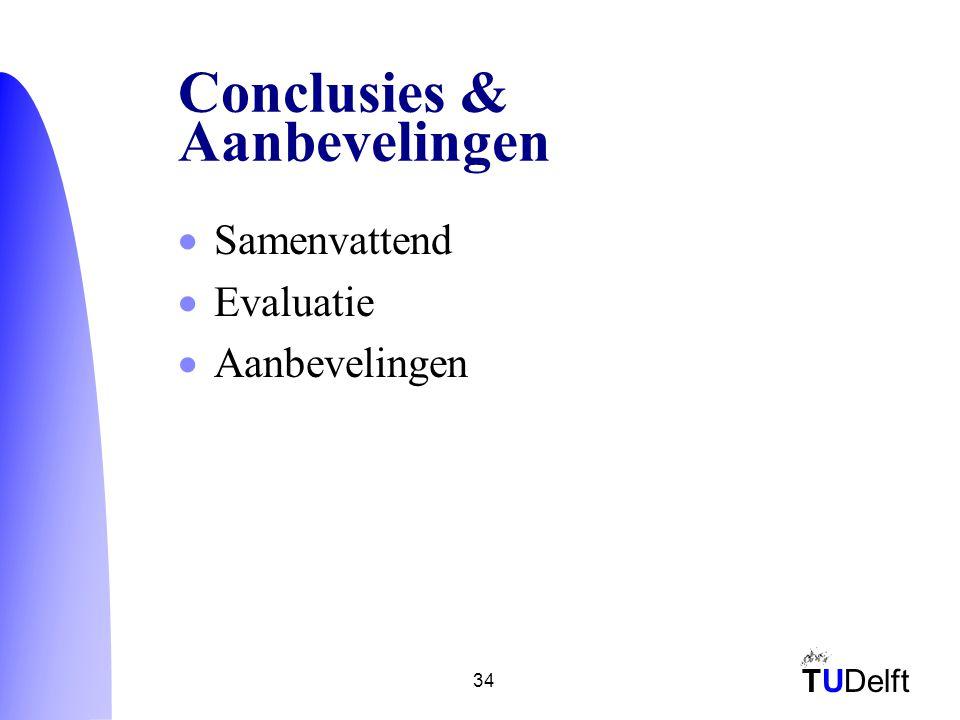 TUDelft 34 Conclusies & Aanbevelingen  Samenvattend  Evaluatie  Aanbevelingen