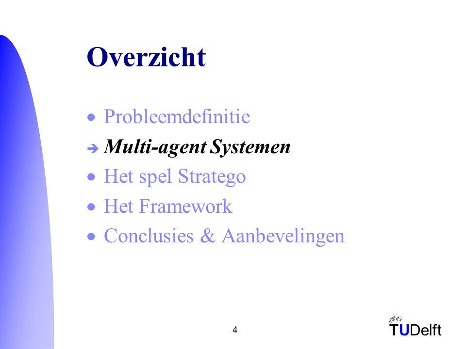 TUDelft 4 Overzicht  Probleemdefinitie  Multi-agent Systemen  Het spel Stratego  Het Framework  Conclusies & Aanbevelingen