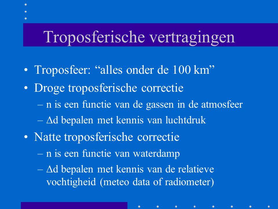 Troposferische vertragingen Troposfeer: alles onder de 100 km Droge troposferische correctie –n is een functie van de gassen in de atmosfeer –  d bepalen met kennis van luchtdruk Natte troposferische correctie –n is een functie van waterdamp –  d bepalen met kennis van de relatieve vochtigheid (meteo data of radiometer)