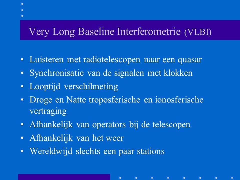 Very Long Baseline Interferometrie (VLBI) Luisteren met radiotelescopen naar een quasar Synchronisatie van de signalen met klokken Looptijd verschilmeting Droge en Natte troposferische en ionosferische vertraging Afhankelijk van operators bij de telescopen Afhankelijk van het weer Wereldwijd slechts een paar stations