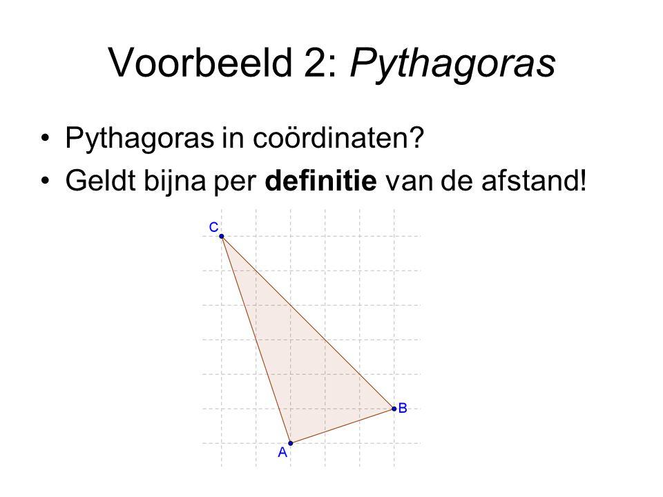 Voorbeeld 2: Pythagoras Pythagoras in coördinaten? Geldt bijna per definitie van de afstand!