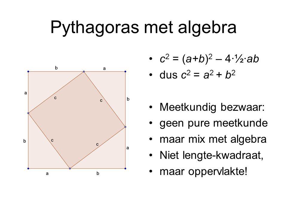 Pythagoras met algebra c 2 = (a+b) 2 – 4·½·ab dus c 2 = a 2 + b 2 Meetkundig bezwaar: geen pure meetkunde maar mix met algebra Niet lengte-kwadraat, maar oppervlakte!