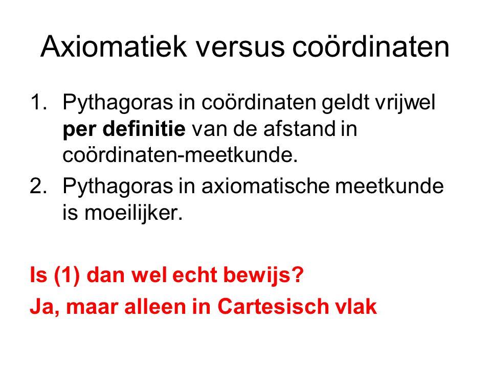 Axiomatiek versus coördinaten 1.Pythagoras in coördinaten geldt vrijwel per definitie van de afstand in coördinaten-meetkunde.