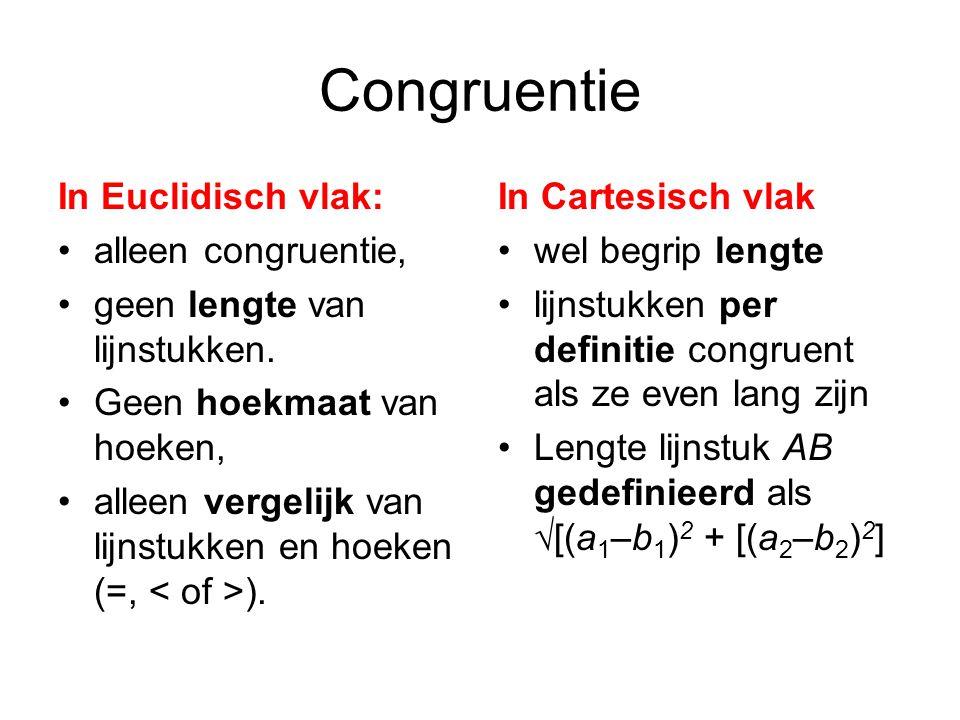Congruentie In Euclidisch vlak: alleen congruentie, geen lengte van lijnstukken.