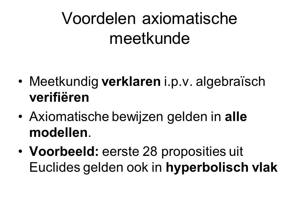 Voordelen axiomatische meetkunde Meetkundig verklaren i.p.v.