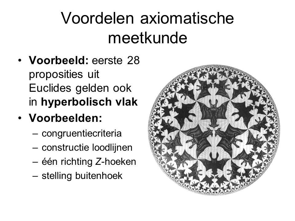 Voordelen axiomatische meetkunde Voorbeeld: eerste 28 proposities uit Euclides gelden ook in hyperbolisch vlak Voorbeelden: –congruentiecriteria –constructie loodlijnen –één richting Z-hoeken –stelling buitenhoek