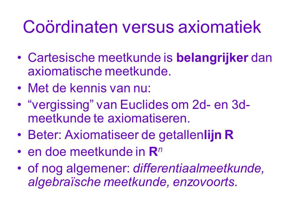 Coördinaten versus axiomatiek Cartesische meetkunde is belangrijker dan axiomatische meetkunde.