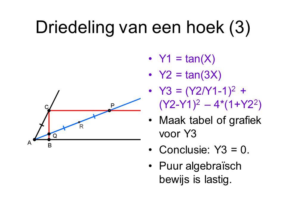 Driedeling van een hoek (3) Y1 = tan(X) Y2 = tan(3X) Y3 = (Y2/Y1-1) 2 + (Y2-Y1) 2 – 4*(1+Y2 2 ) Maak tabel of grafiek voor Y3 Conclusie: Y3 = 0.