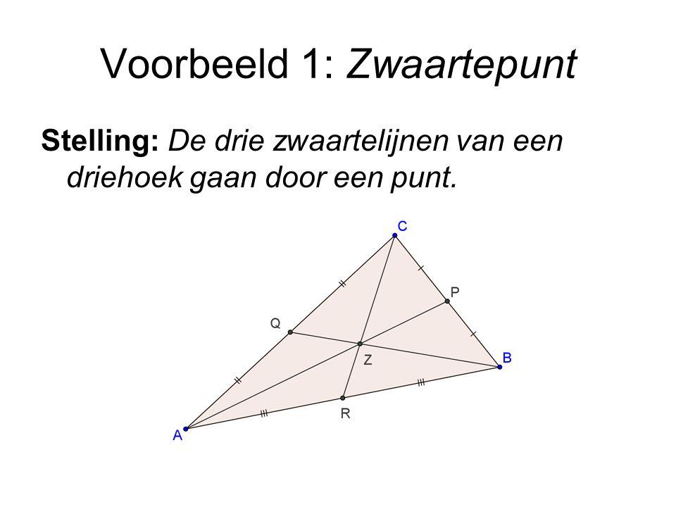 Voorbeeld 1: Zwaartepunt Stelling: De drie zwaartelijnen van een driehoek gaan door een punt.