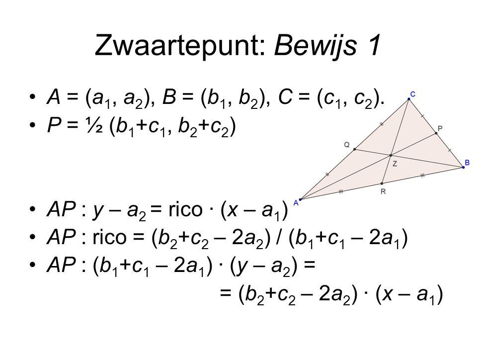 Cosinusregel met vectoren Te bewijzen: c 2 = a 2 + b 2 – 2ab cos(  ) Per definitie van  =  (a,b) geldt: cos(  ) = a·b / ab c 2 = c 2 = (a – b) 2 = (a – b)·(a – b) c 2 = a 2 – 2 a·b + b 2 c 2 = a 2 – 2 a·b + b 2 = a 2 – 2ab cos(  ) + b 2