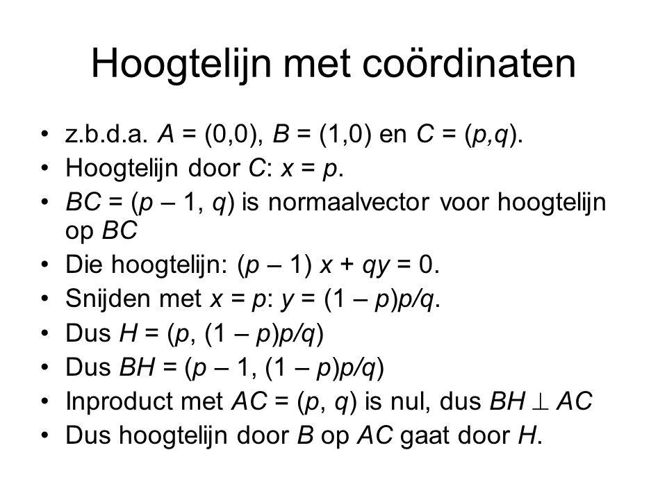 Hoogtelijn met coördinaten z.b.d.a.A = (0,0), B = (1,0) en C = (p,q).