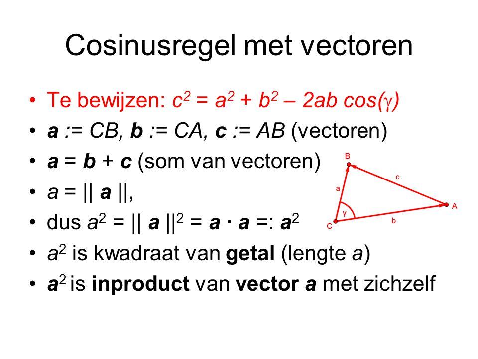 Cosinusregel met vectoren Te bewijzen: c 2 = a 2 + b 2 – 2ab cos(  ) a := CB, b := CA, c := AB (vectoren) a = b + c (som van vectoren) a = || a ||, dus a 2 = || a || 2 = a · a =: a 2 a 2 is kwadraat van getal (lengte a) a 2 is inproduct van vector a met zichzelf