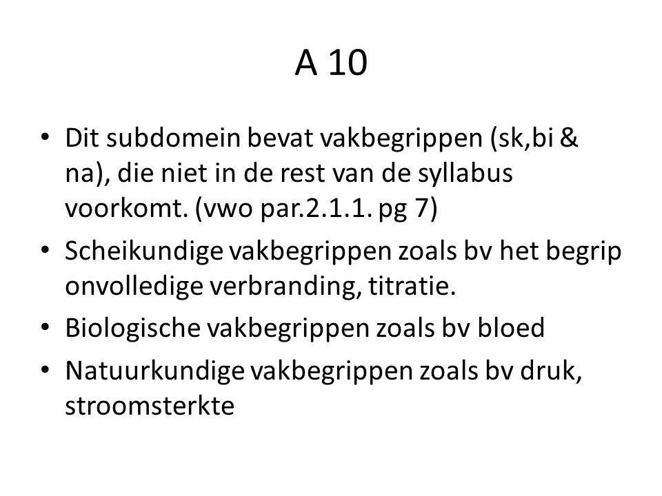 A 10 Dit subdomein bevat vakbegrippen (sk,bi & na), die niet in de rest van de syllabus voorkomt.