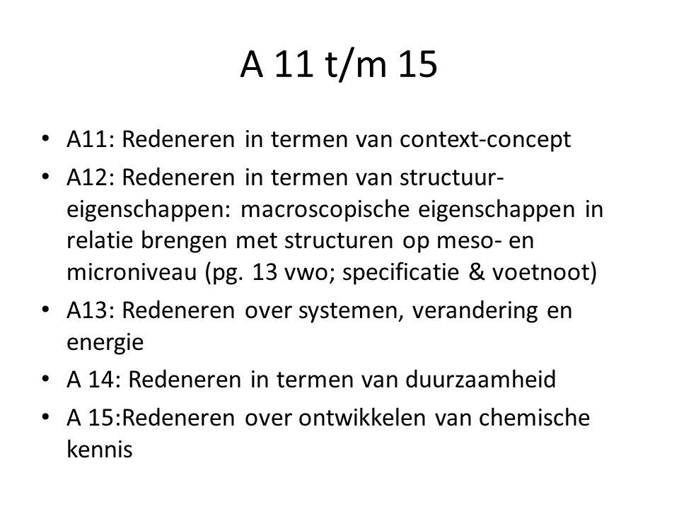 A 11 t/m 15 A11: Redeneren in termen van context-concept A12: Redeneren in termen van structuur- eigenschappen: macroscopische eigenschappen in relatie brengen met structuren op meso- en microniveau (pg.