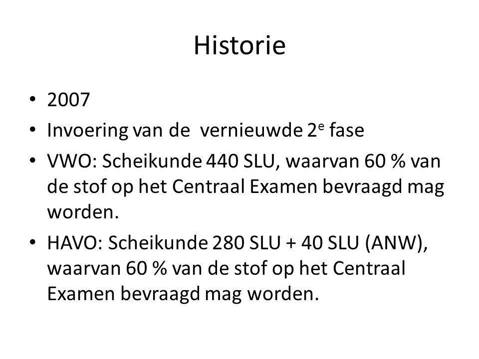 Historie 2007 Invoering van de vernieuwde 2 e fase VWO: Scheikunde 440 SLU, waarvan 60 % van de stof op het Centraal Examen bevraagd mag worden.