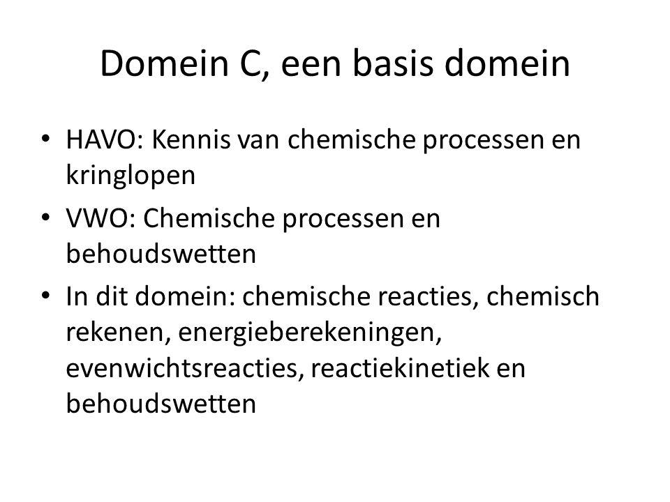 Domein C, een basis domein HAVO: Kennis van chemische processen en kringlopen VWO: Chemische processen en behoudswetten In dit domein: chemische reacties, chemisch rekenen, energieberekeningen, evenwichtsreacties, reactiekinetiek en behoudswetten