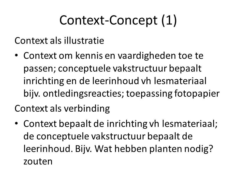 Context-Concept (1) Context als illustratie Context om kennis en vaardigheden toe te passen; conceptuele vakstructuur bepaalt inrichting en de leerinhoud vh lesmateriaal bijv.