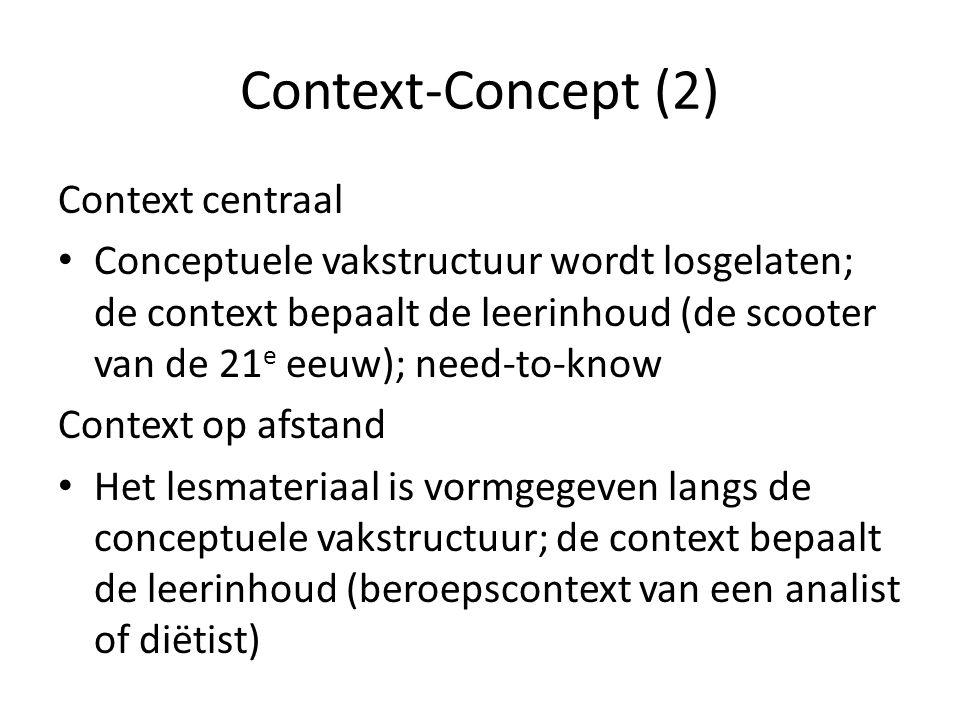 Context-Concept (2) Context centraal Conceptuele vakstructuur wordt losgelaten; de context bepaalt de leerinhoud (de scooter van de 21 e eeuw); need-to-know Context op afstand Het lesmateriaal is vormgegeven langs de conceptuele vakstructuur; de context bepaalt de leerinhoud (beroepscontext van een analist of diëtist)