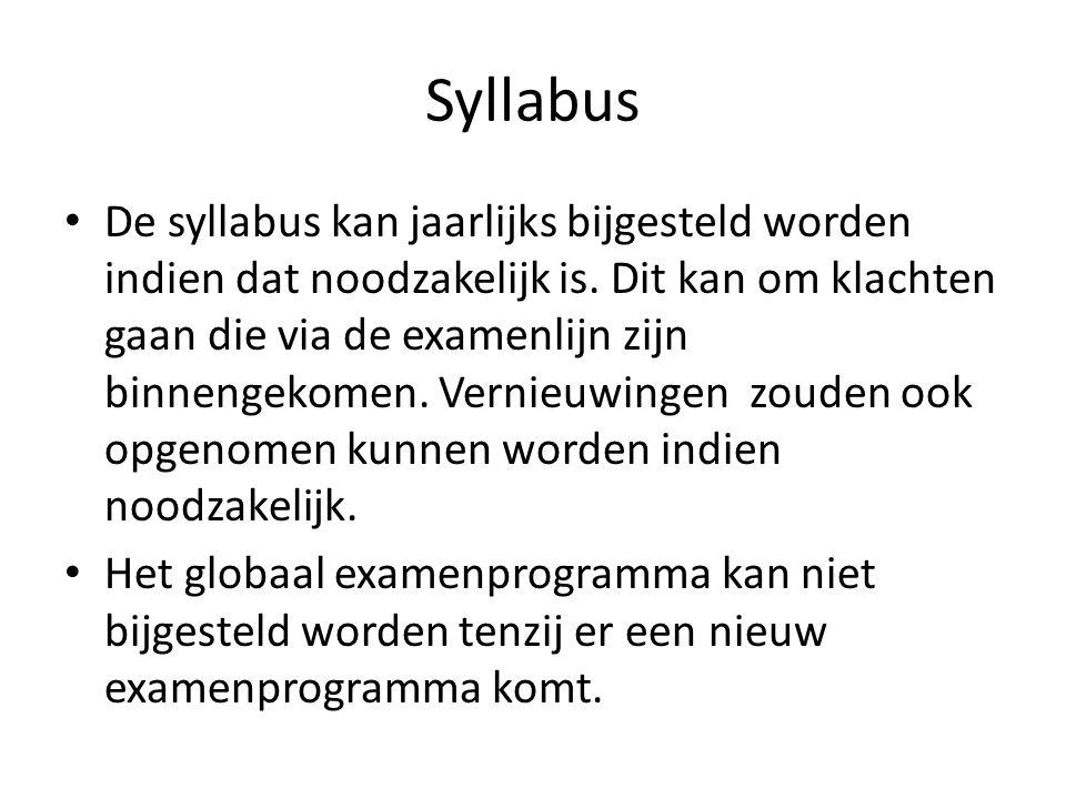Syllabus De syllabus kan jaarlijks bijgesteld worden indien dat noodzakelijk is.