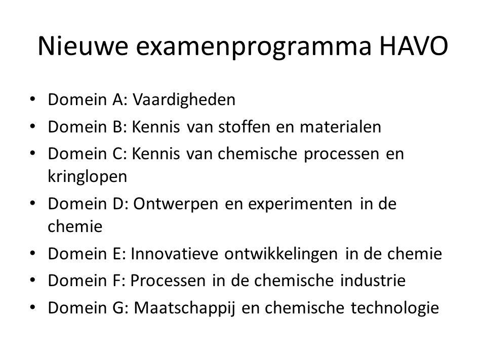Nieuwe examenprogramma HAVO Domein A: Vaardigheden Domein B: Kennis van stoffen en materialen Domein C: Kennis van chemische processen en kringlopen Domein D: Ontwerpen en experimenten in de chemie Domein E: Innovatieve ontwikkelingen in de chemie Domein F: Processen in de chemische industrie Domein G: Maatschappij en chemische technologie
