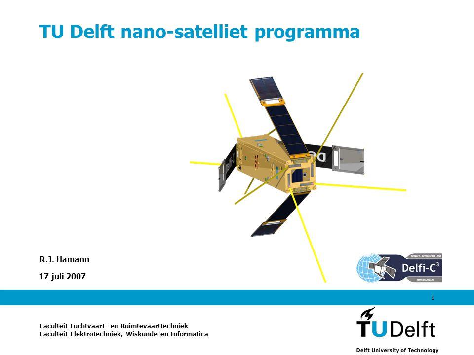 17 juli 20072 Doelstelling Delfi programma Verschaf MSc studenten van de TU Delft hands-on ervaring met het ontwerpen, ontwikkelen en opereren van satellieten in een professionele omgeving Ontwikkel teamwork, leiderschap en communicatievaardigheden In eerste instantie beperkt tot de faculteiten Luchtvaart- & Ruimtevaarttechniek (LR) en Elektrotechniek, Wiskunde & Informatica (EWI) Uiteindelijk uitgebreid naar Technische Hogescholen Rotterdam, InHolland (Delft, Alkmaar), Utrecht, Haagse Hogeschool Internationaal en Erasmus/Socrates: Italië, Spanje, Frankrijk, China, Pakistan