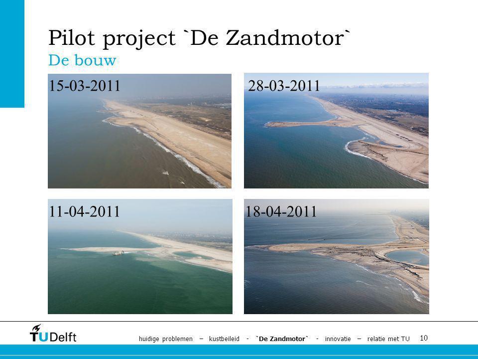 10 Pilot project `De Zandmotor` De bouw 15-03-2011 11-04-201118-04-2011 28-03-2011 huidige problemen – kustbeileid - `De Zandmotor` - innovatie – relatie met TU
