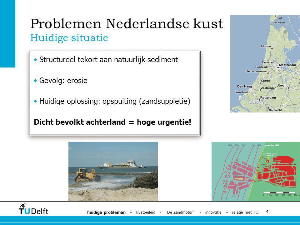 4 Structureel tekort aan natuurlijk sediment Gevolg: erosie Huidige oplossing: opspuiting (zandsuppletie) Dicht bevolkt achterland = hoge urgentie.