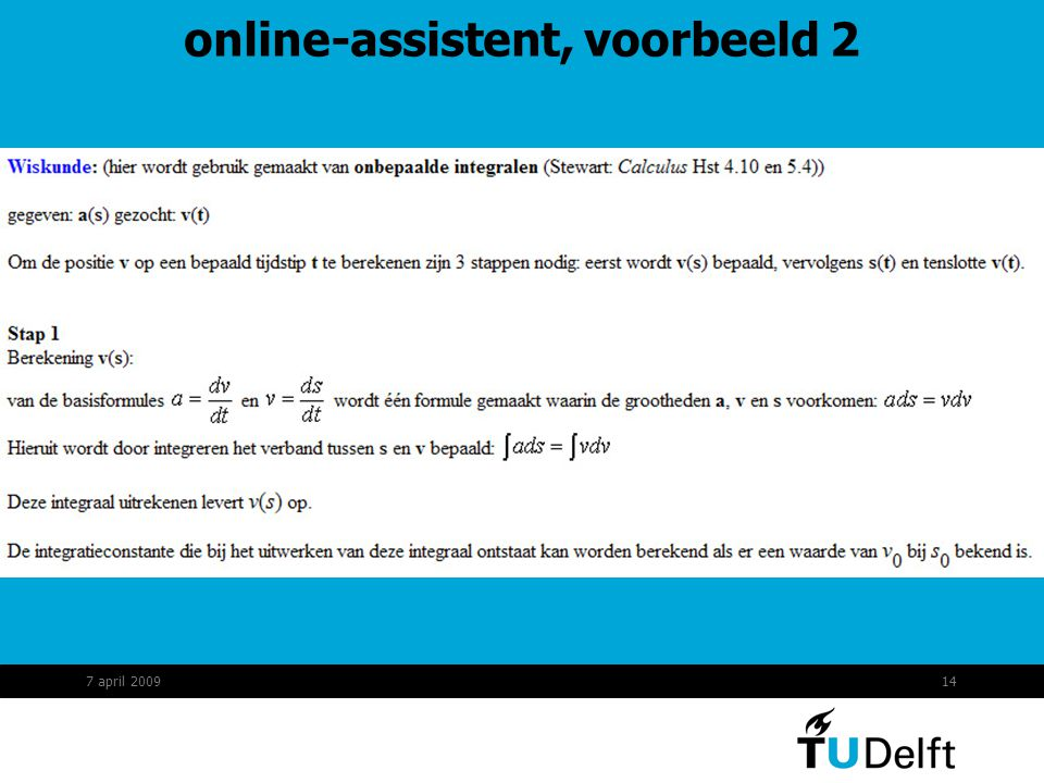 14 online-assistent, voorbeeld 2 7 april 2009