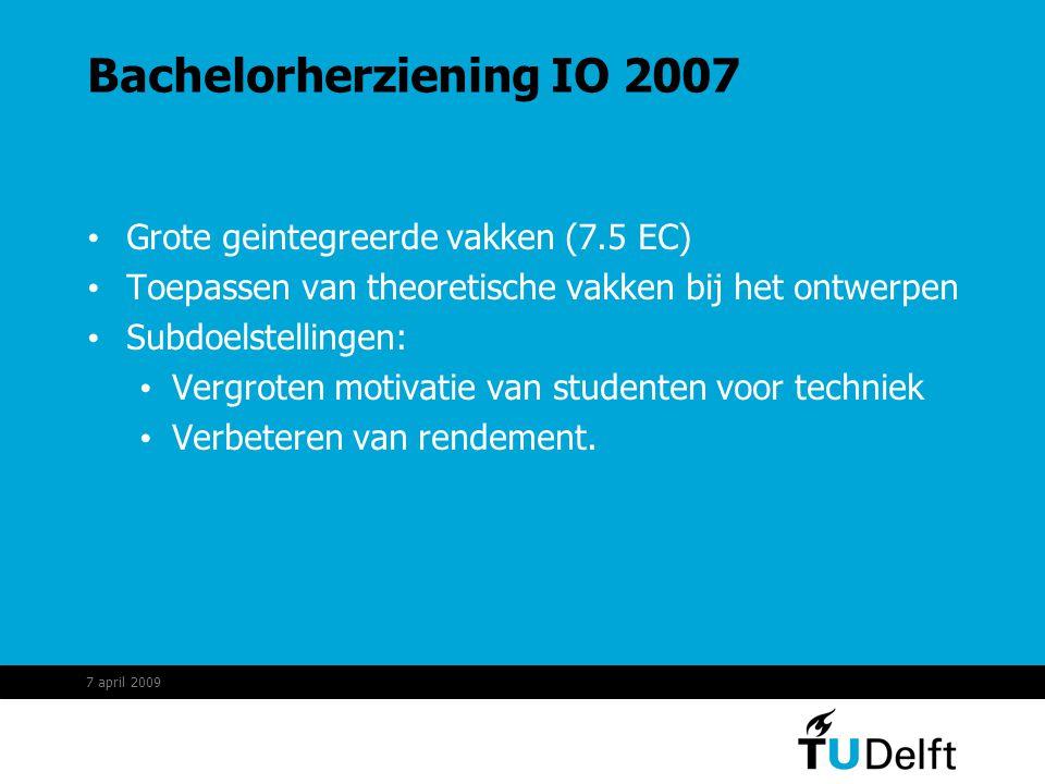 Bachelorherziening IO 2007 Grote geintegreerde vakken (7.5 EC) Toepassen van theoretische vakken bij het ontwerpen Subdoelstellingen: Vergroten motivatie van studenten voor techniek Verbeteren van rendement.