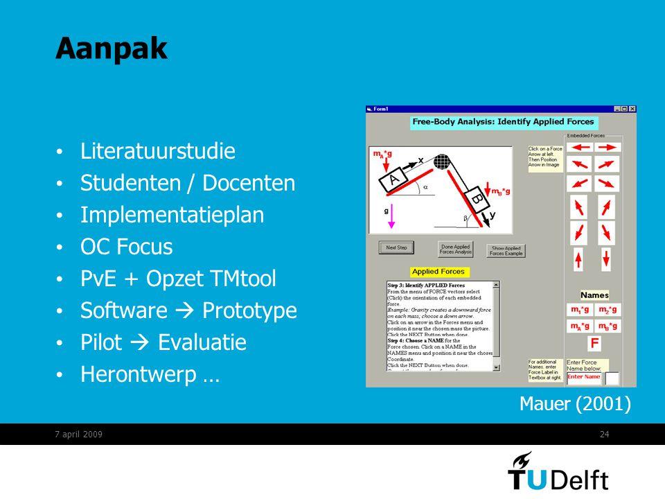 24 Aanpak Literatuurstudie Studenten / Docenten Implementatieplan OC Focus PvE + Opzet TMtool Software  Prototype Pilot  Evaluatie Herontwerp … Mauer (2001) 7 april 2009