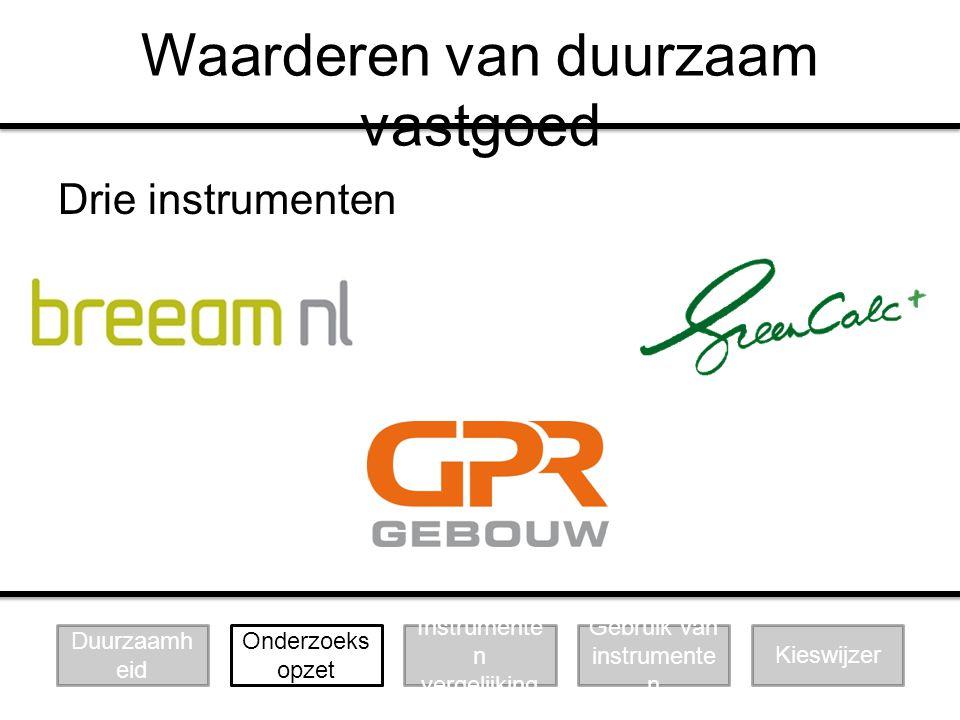 Waarderen van duurzaam vastgoed Drie instrumenten Duurzaamh eid Instrumente n vergelijking Gebruik van instrumente n Kieswijzer Onderzoeks opzet