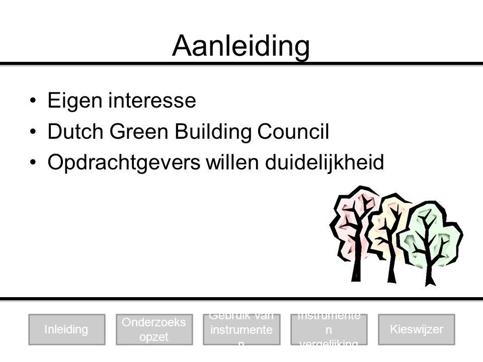 Aanleiding Eigen interesse Dutch Green Building Council Opdrachtgevers willen duidelijkheid Instrumente n vergelijking Gebruik van instrumente n Kiesw