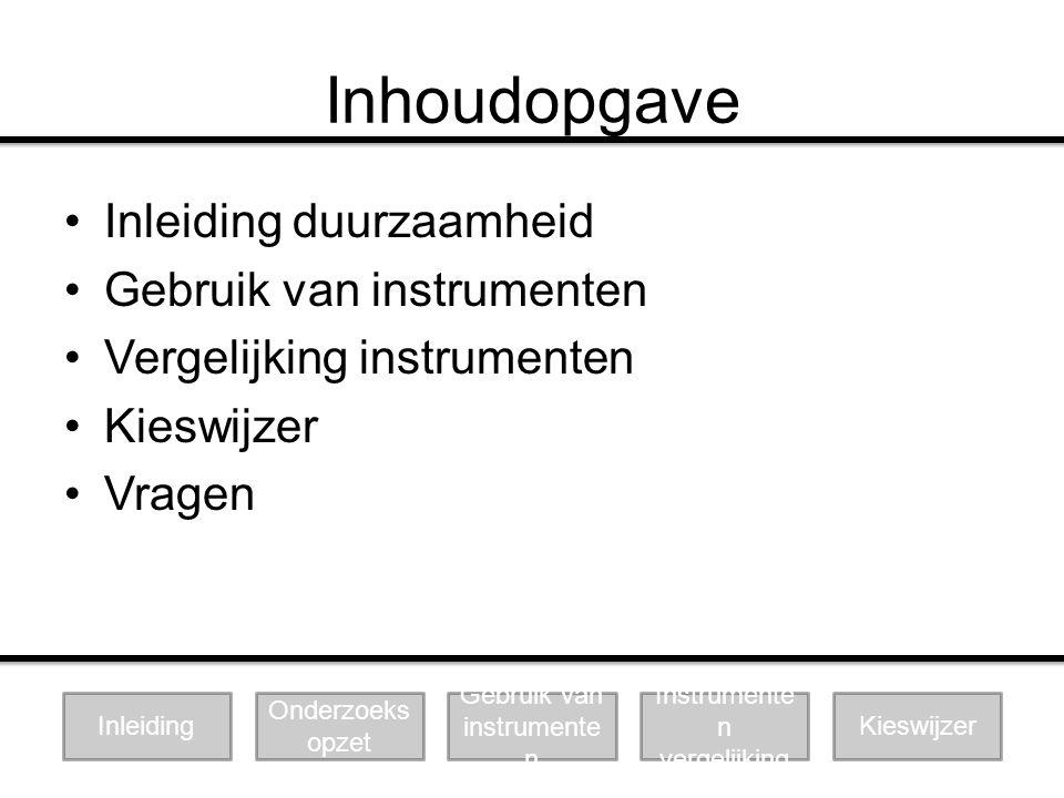 Vergelijking waarderingen Duurzaamh eid Onderzoeks opzet Gebruik van instrumente n Instrumente n vergelijking Kieswijzer
