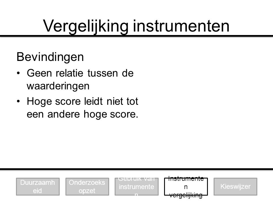 Vergelijking instrumenten Bevindingen Geen relatie tussen de waarderingen Hoge score leidt niet tot een andere hoge score. Duurzaamh eid Onderzoeks op
