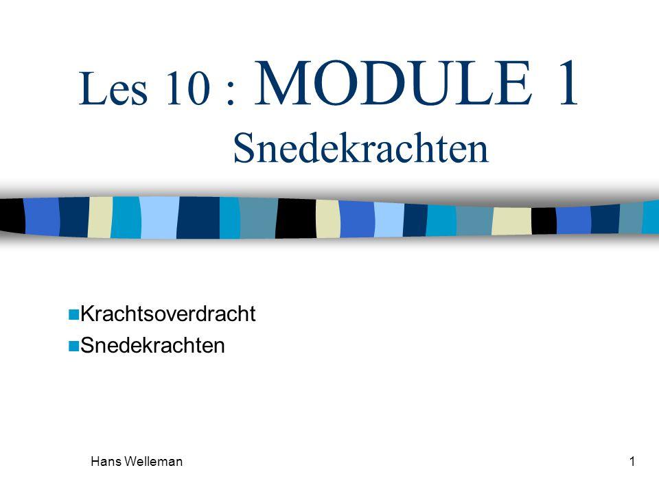 Hans Welleman1 Les 10 : MODULE 1 Snedekrachten Krachtsoverdracht Snedekrachten