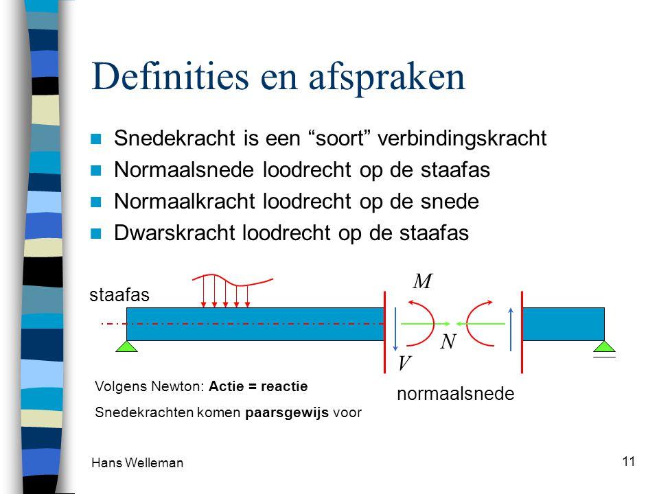 Hans Welleman 11 Definities en afspraken Snedekracht is een soort verbindingskracht Normaalsnede loodrecht op de staafas Normaalkracht loodrecht op de snede Dwarskracht loodrecht op de staafas normaalsnede staafas M N V Volgens Newton: Actie = reactie Snedekrachten komen paarsgewijs voor