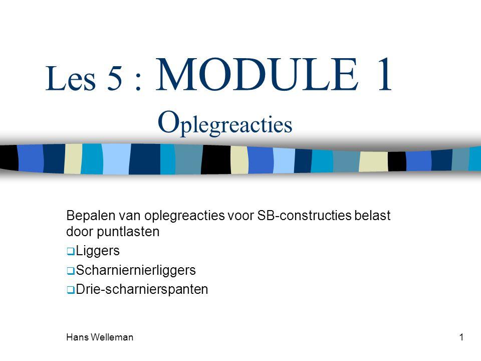 Hans Welleman1 Les 5 : MODULE 1 O plegreacties Bepalen van oplegreacties voor SB-constructies belast door puntlasten  Liggers  Scharniernierliggers
