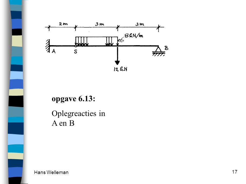 Hans Welleman 17 opgave 6.13: Oplegreacties in A en B