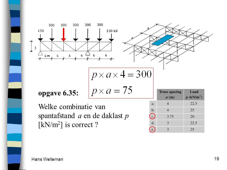 Hans Welleman 19 opgave 6.35: Welke combinatie van spantafstand a en de daklast p [kN/m 2 ] is correct ?