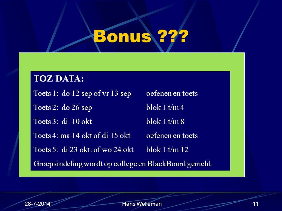 28-7-2014Hans Welleman11 Bonus ??.6 tussentijdse zelfevaluaties : TOZ Vrijwillige deelname 1.