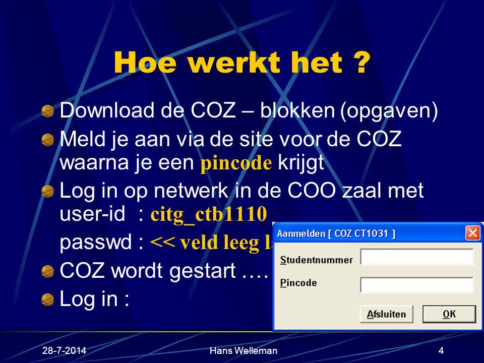 28-7-2014Hans Welleman4 Hoe werkt het .