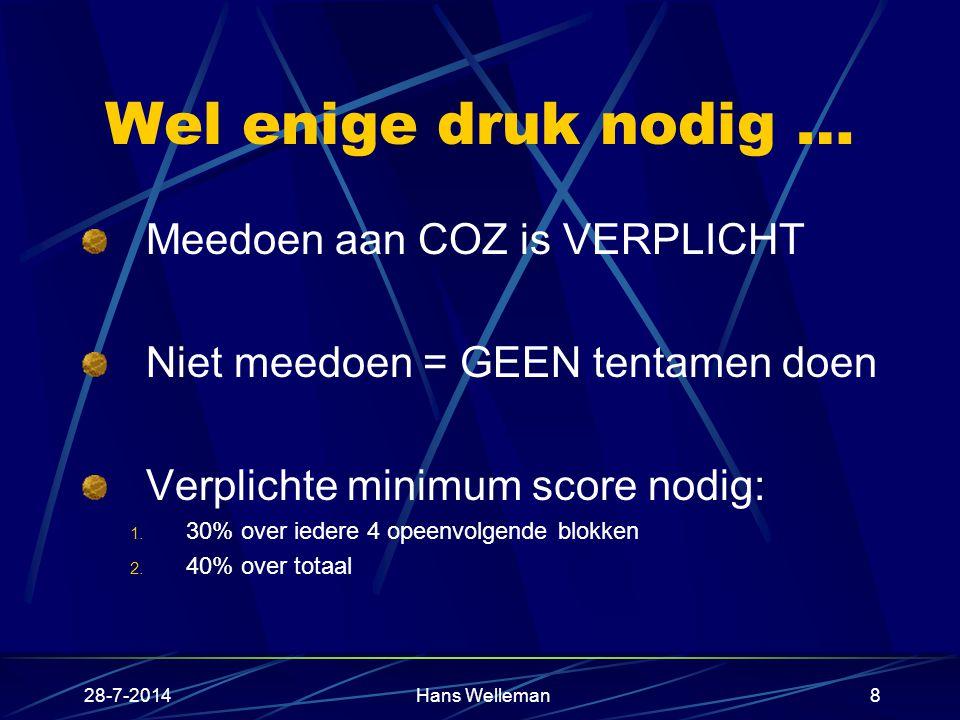28-7-2014Hans Welleman8 Wel enige druk nodig … Meedoen aan COZ is VERPLICHT Niet meedoen = GEEN tentamen doen Verplichte minimum score nodig: 1.
