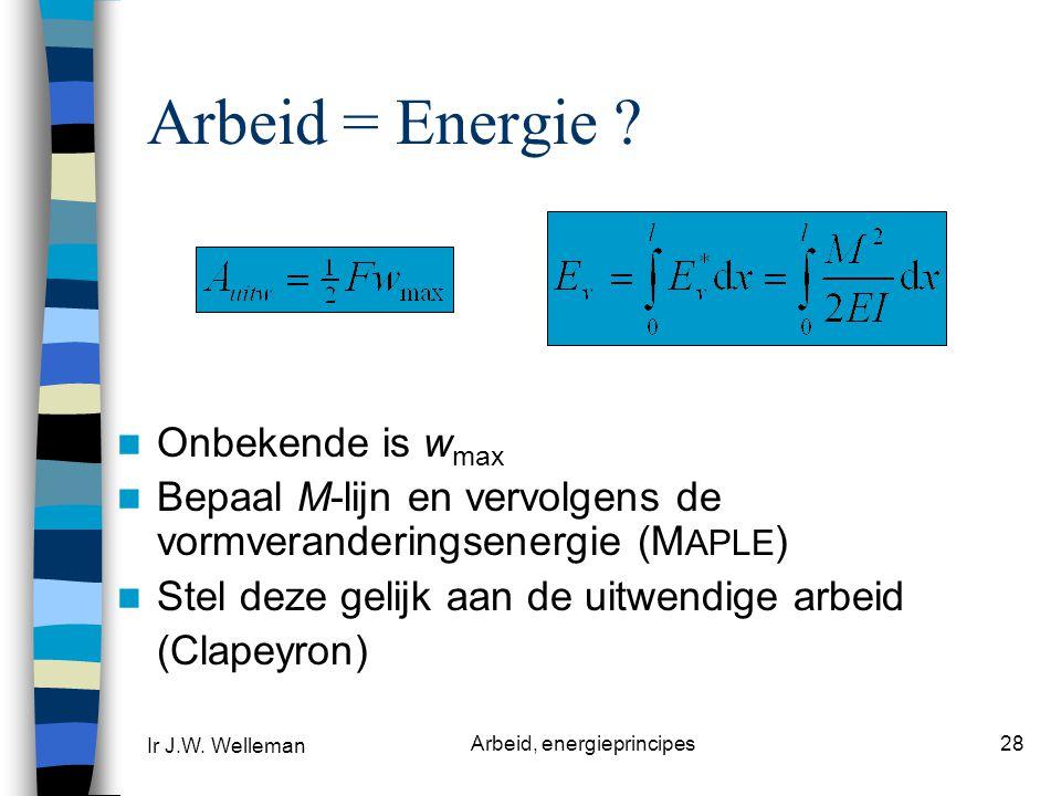 Ir J.W.Welleman Arbeid, energieprincipes28 Arbeid = Energie .
