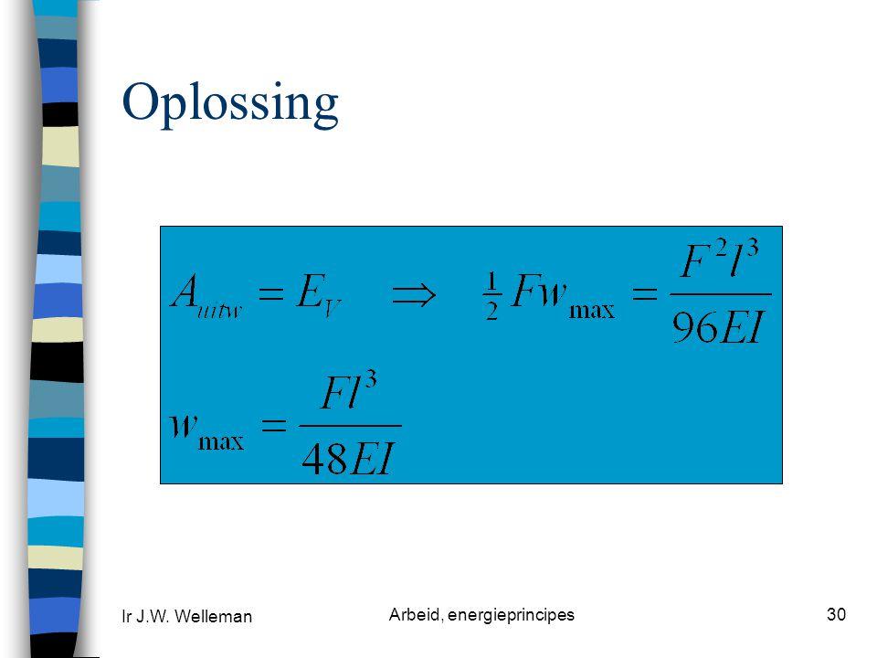 Ir J.W. Welleman Arbeid, energieprincipes30 Oplossing